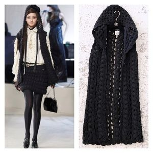 Chanel chunky knit hooded cardigan fall 20…